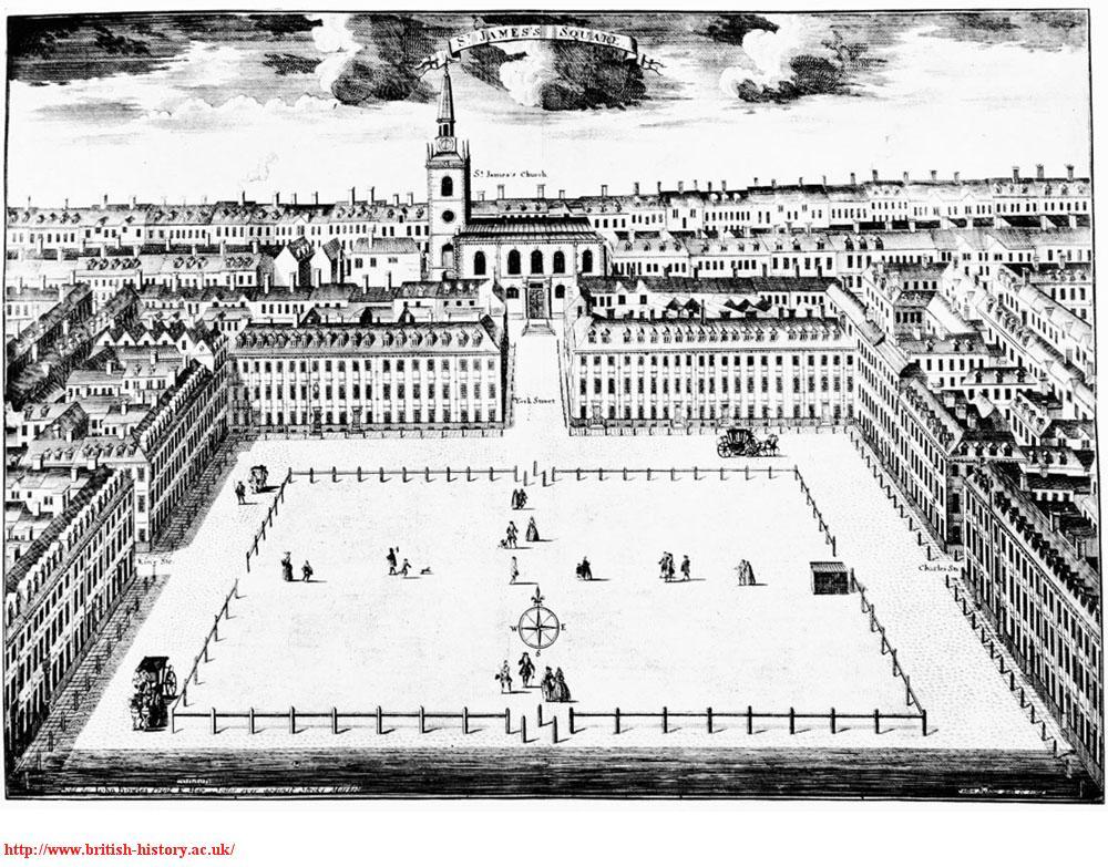 St James's Square, Sutton Nicholls' view, 1722