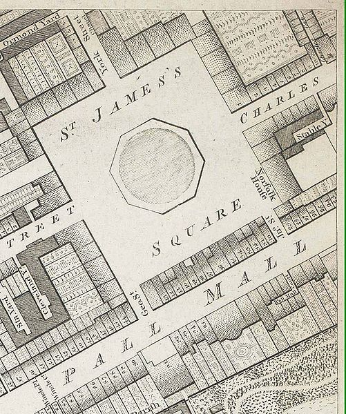 Site of Norfolk House in St james's Square, 1799