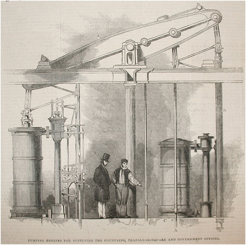 The pump for the fountains in Trafalgar Square, 1845, Illustrated London News