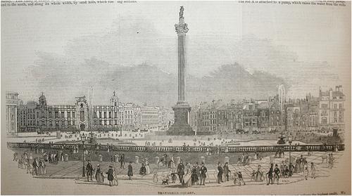 Trafalgar Square, 1845, from the London Illustrated News