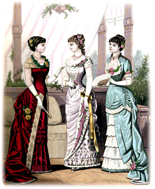 Evening dresses from 1880 in a Victorian Magazine