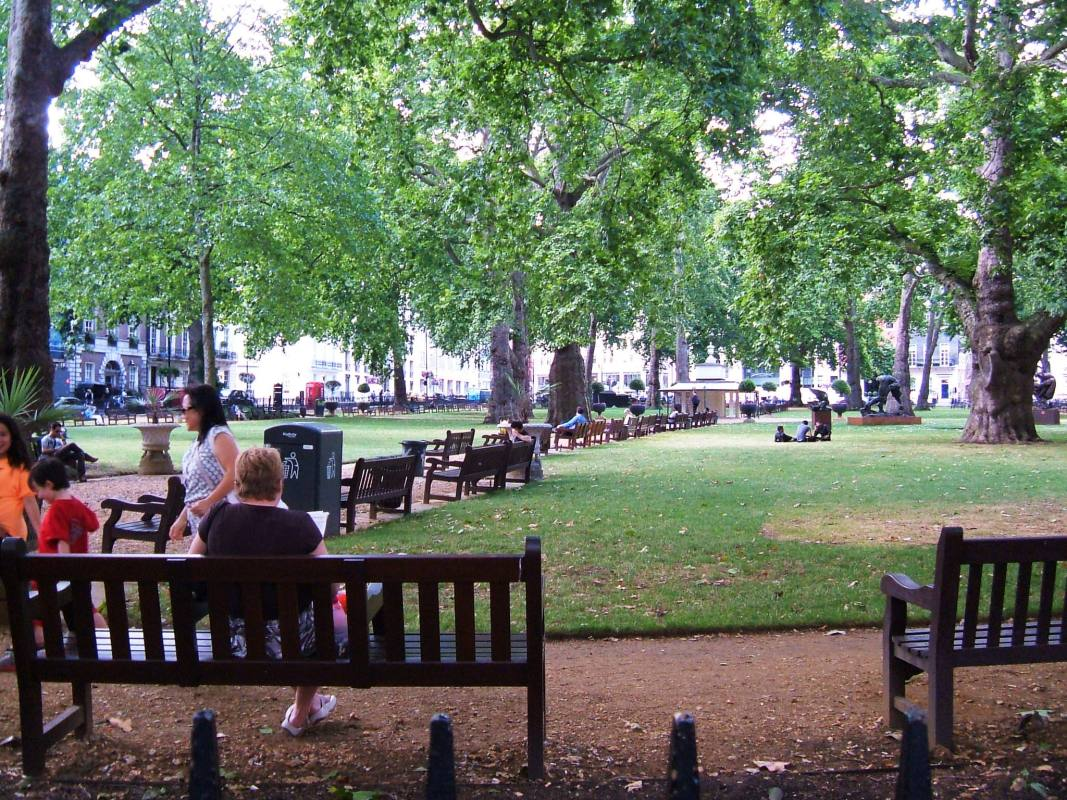 Berkeley Square on a hot summer day, looking north