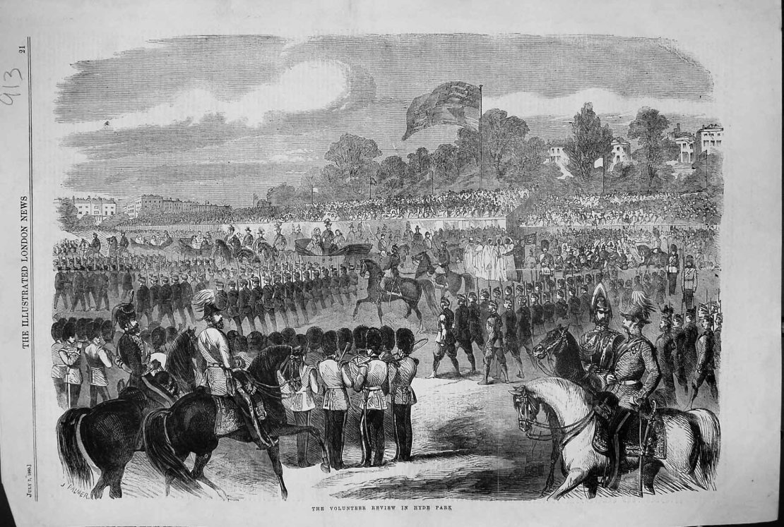 Volunteer Review, Hyde Park, 1860, as in Illustrated London News