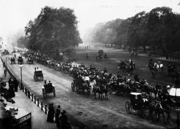 Carriages and horse riders in Hyde Park, 1888