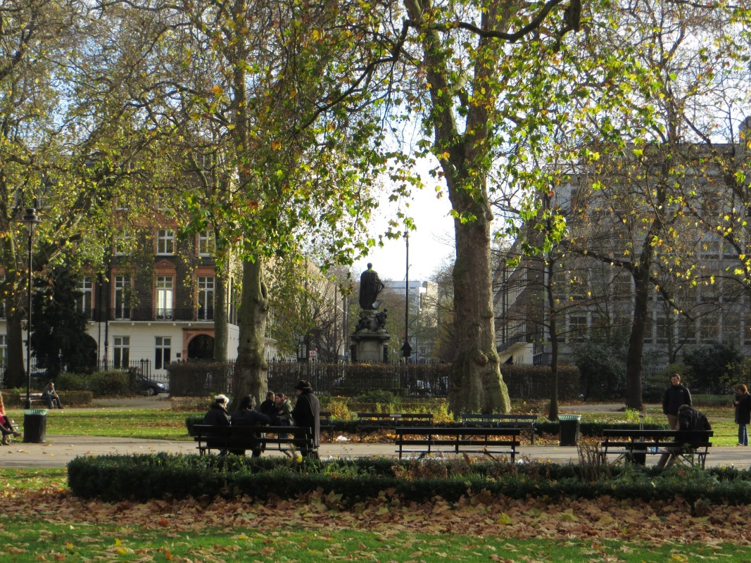 Russell Square, with statue of Duke of Bedford facing Bloomsbury Square