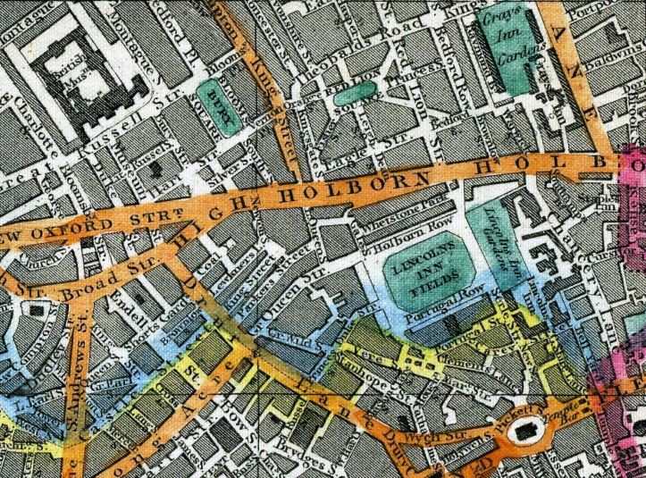 Map of 1851 showing Red Lion Square