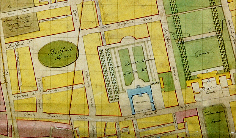 Plan of 1795, with Bedford House, square and gardens  partly visible on the right