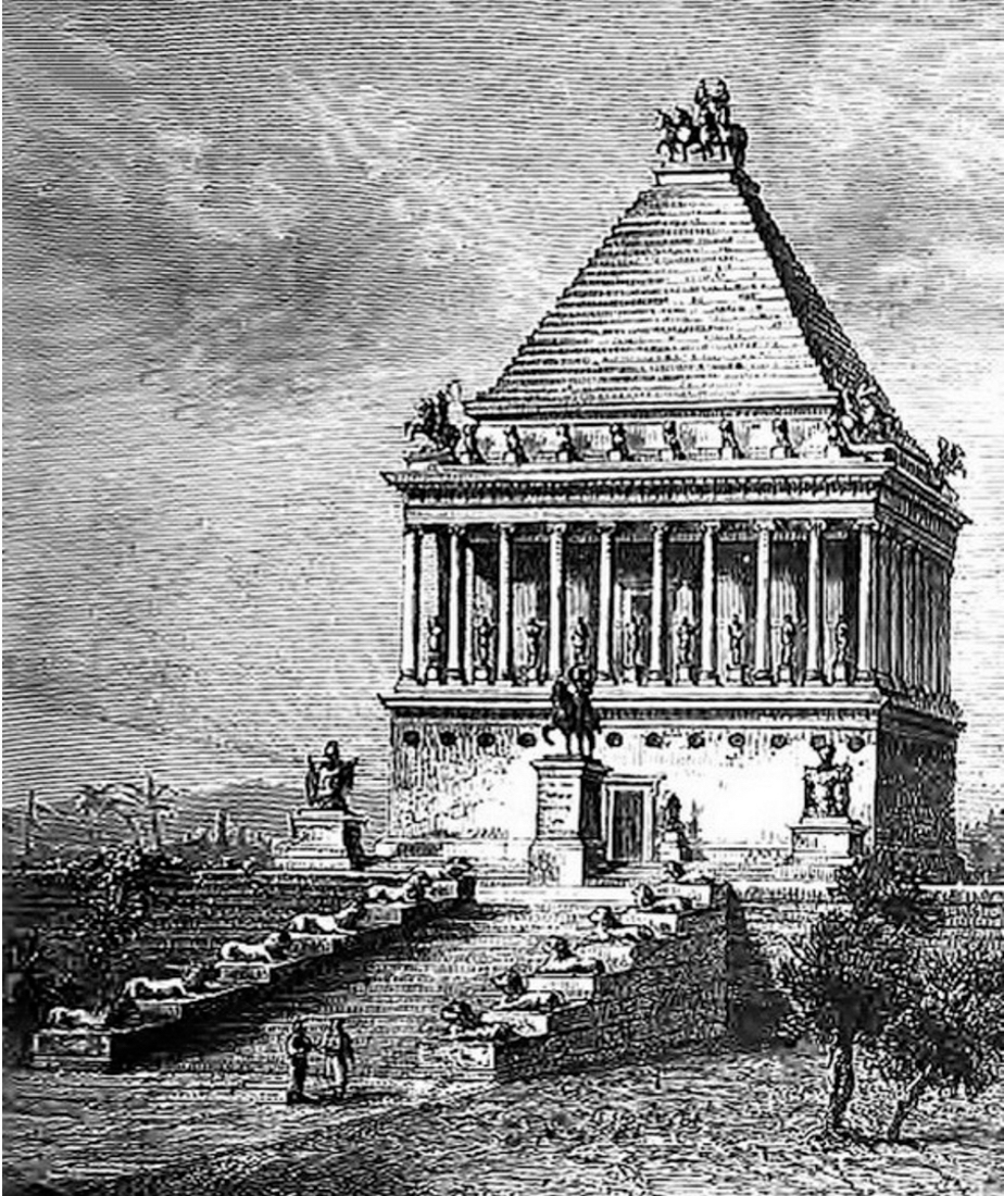 The Mausoleum, Halicarnassus (https://commons.wikimedia.org/wiki/File:Tombeau_de_Mausole_(Barclay)_crop.jpg)