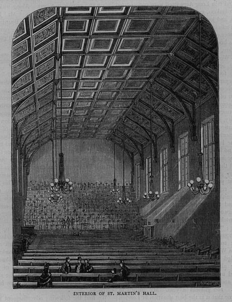 St Martin's Hall interior, c.1850
