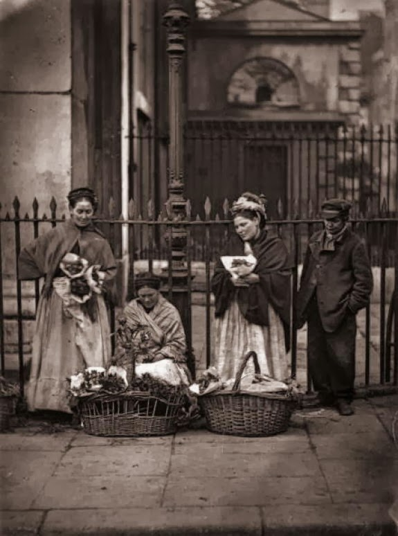 Women selling bouquets of flowers at Covent Garden in 1877