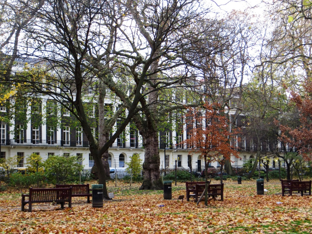 The west side of Tavistock Square from the gardens