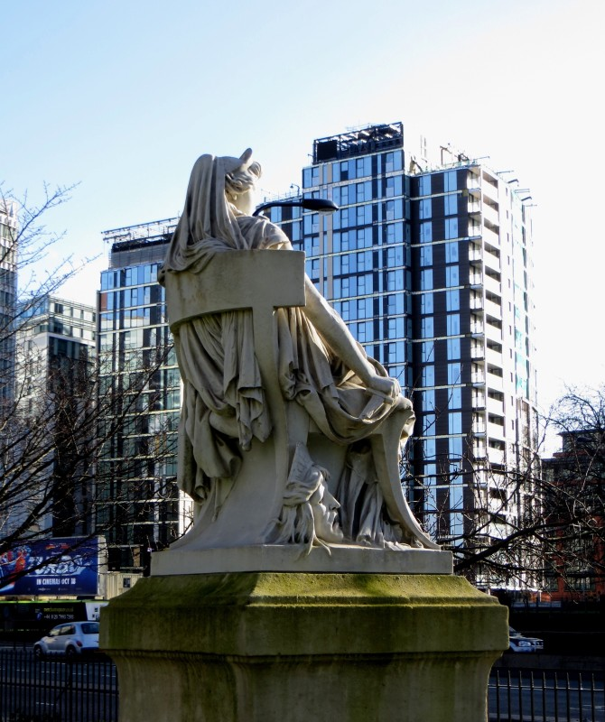 Mrs Siddons looking over traffic to Paddington Basin