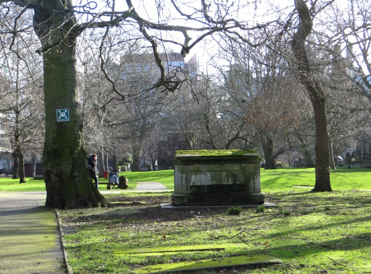 In the graveyard of St Mary on Paddington Green