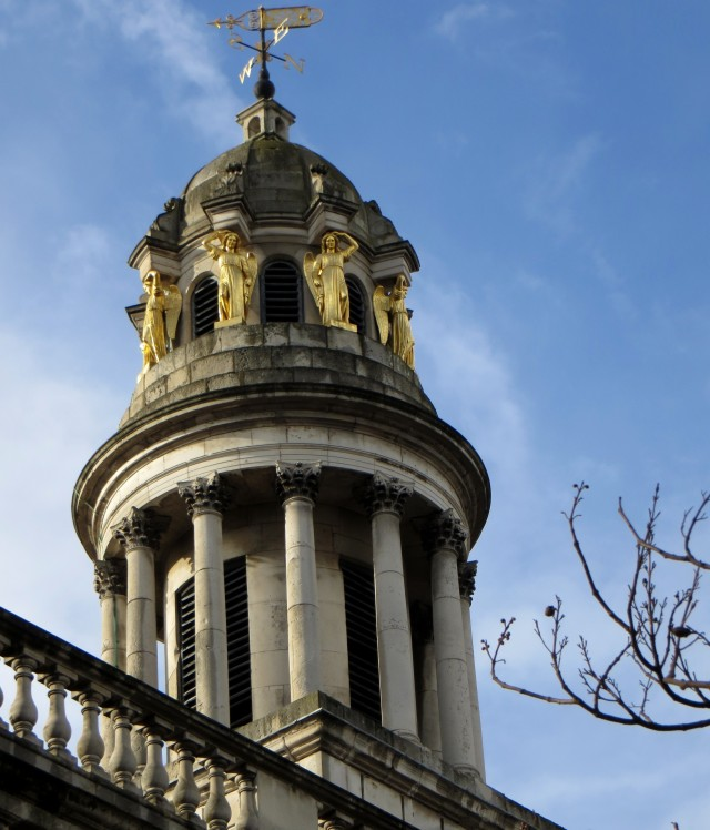 The steeple of St Mary, Marylebone, with happy caryatids!