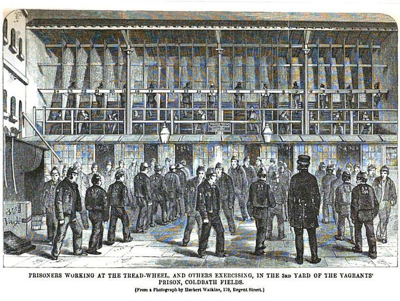 Coldbath Fields Prison; prisoners on the treadmill, and exercising, c.1864