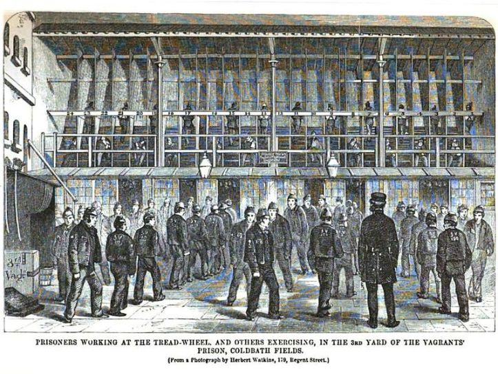 Coldbath Fields Prison; prisoners on the treadmill, and exercising, c.1864