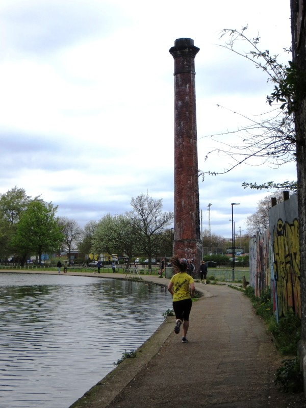 Factory chimney, just after the rail crossing