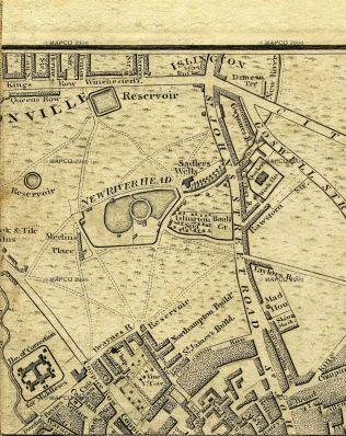 Map showing Spa Fields, 1801