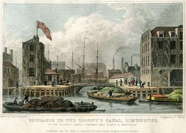 Regent's Canal Dock, 1828 (Wikipedia)