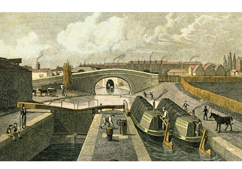 Thomas Shepherd print, 1828, showing the two locks at City road
