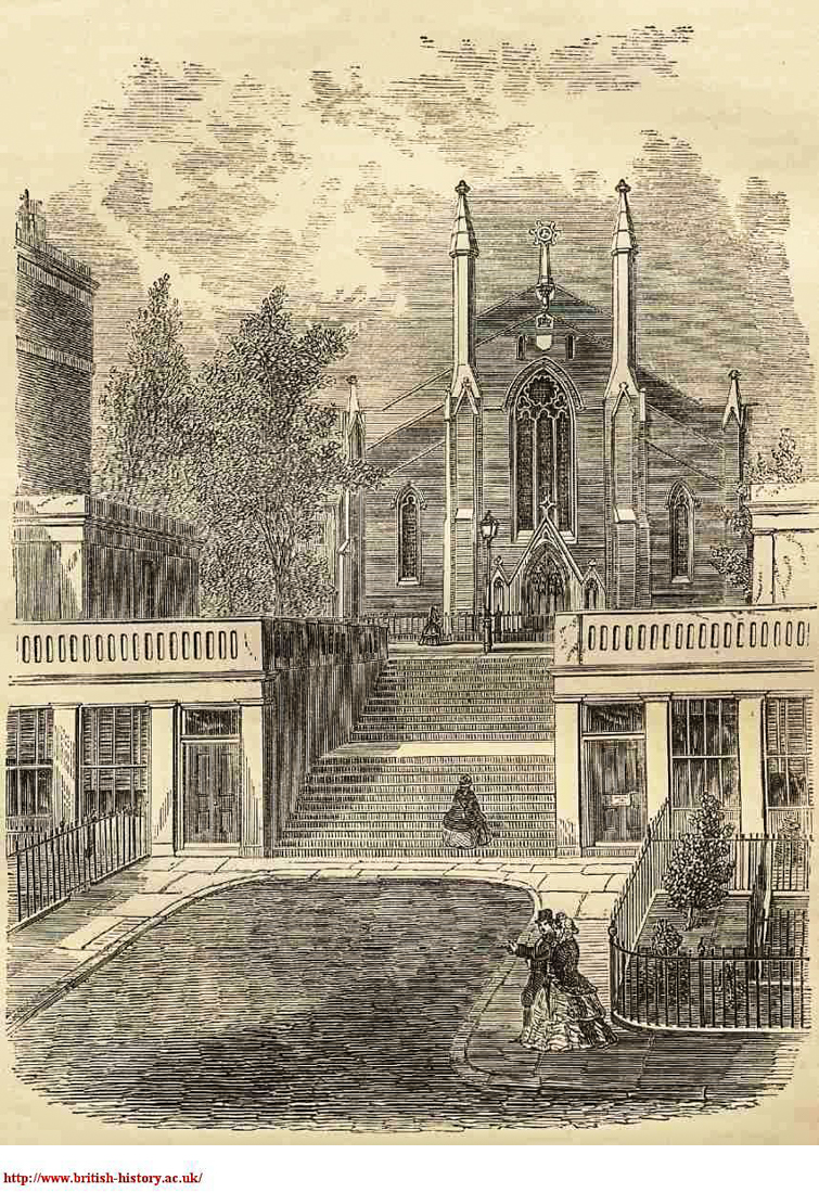 Gwynne Place with Riceyman Steps, & the Church of St Philip, c.1860