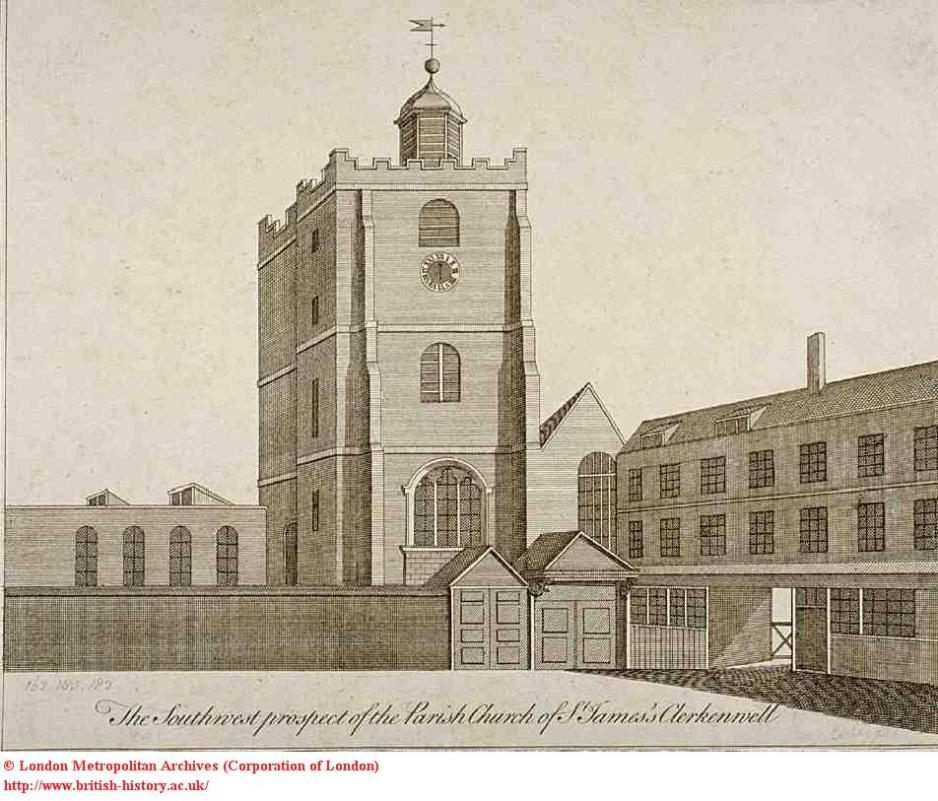 Old St James Church, Clerkenwell, c.1750