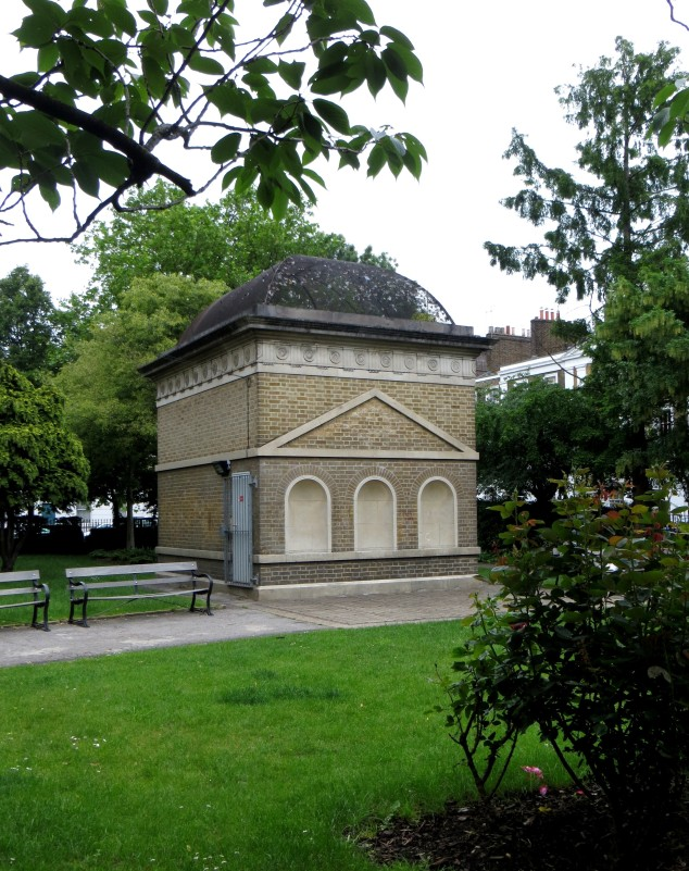 Raymond Erith's Greek Temple ventilation shaft in Gibson Square