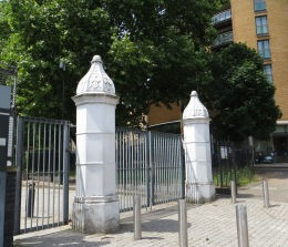 The gate posts from Dame Alice Owen's School