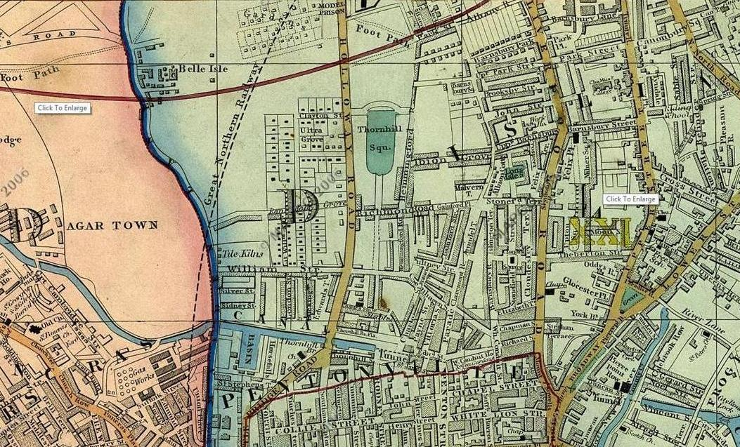 Cross's Map of London, 1850, showing Thornhill Estate (Mapco)