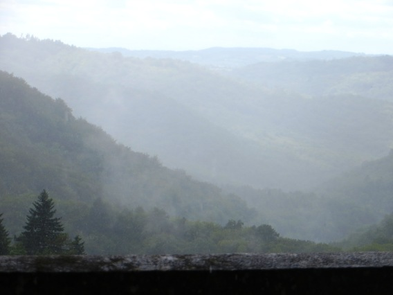 The valley below Gimel les Cascades in the rain