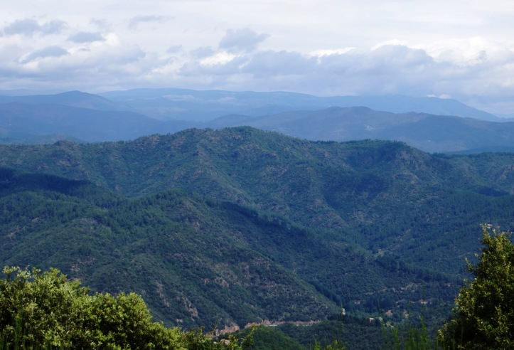 Looking north into the Cevennes hills