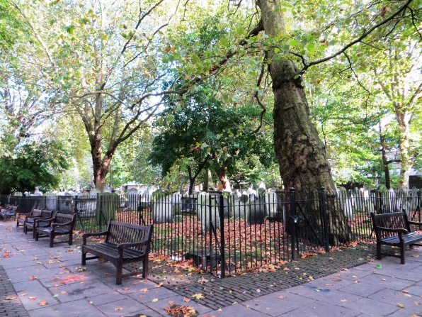 Bunhill Fields, with graves fenced off