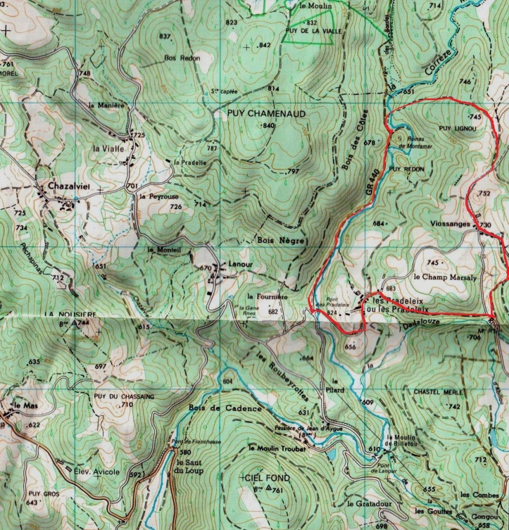Pradeleix map, marked up