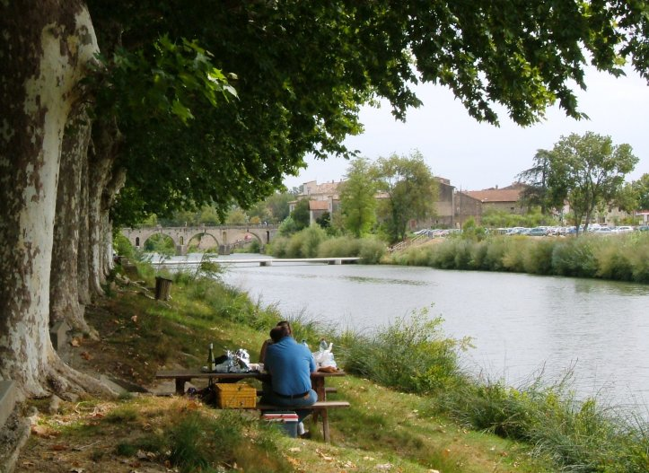 Sommieres, the Vidourle and the Roman Bridge