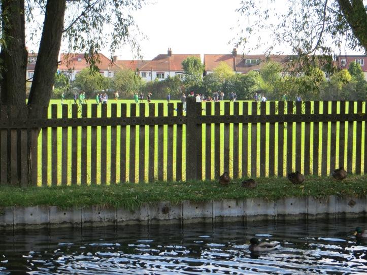 The New River alongside Hazelwood Recreation Ground