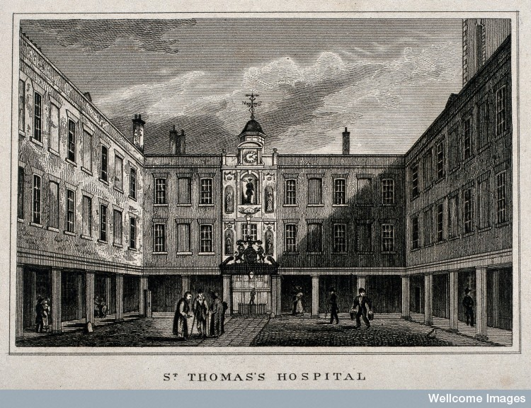 Old St. Thomas's Hospital, Southwark: the entrance courtyard; 17C (Wellcome Library)