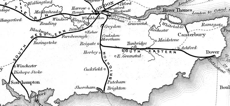 Railways in southern England, 1840 (Wikipedia)