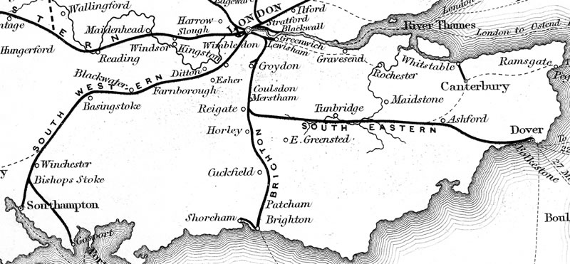 Railways in southern England, 1840 (Wikipedia)