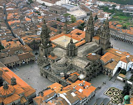 Aerial view of the Cathedral (Camino Pilgrimages)