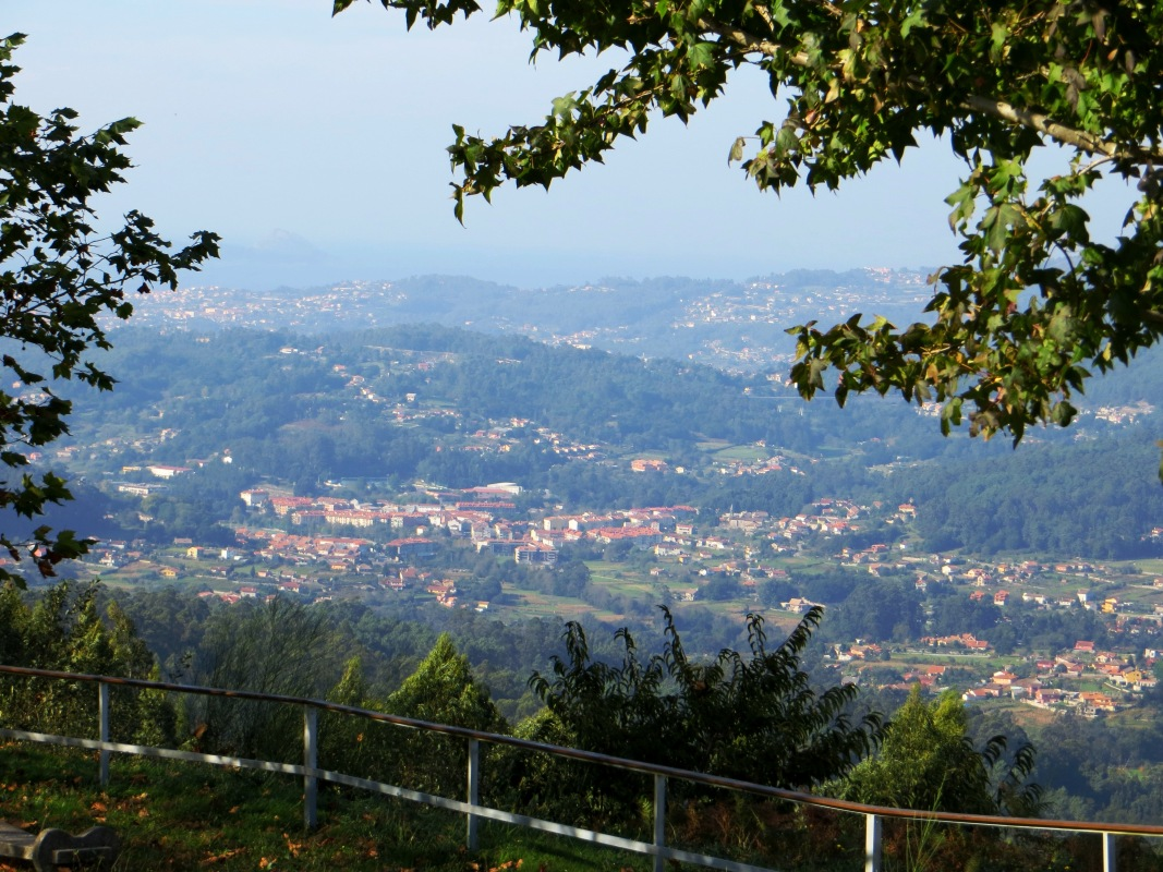 Looking down on Baiona and surrounding hills