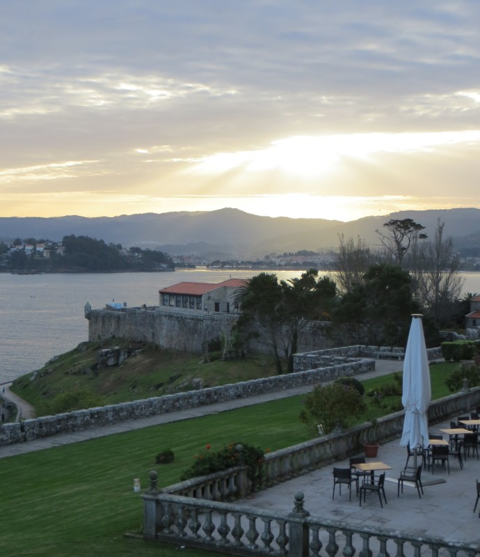 The view across the bay from the Parador at Baiona in the evening