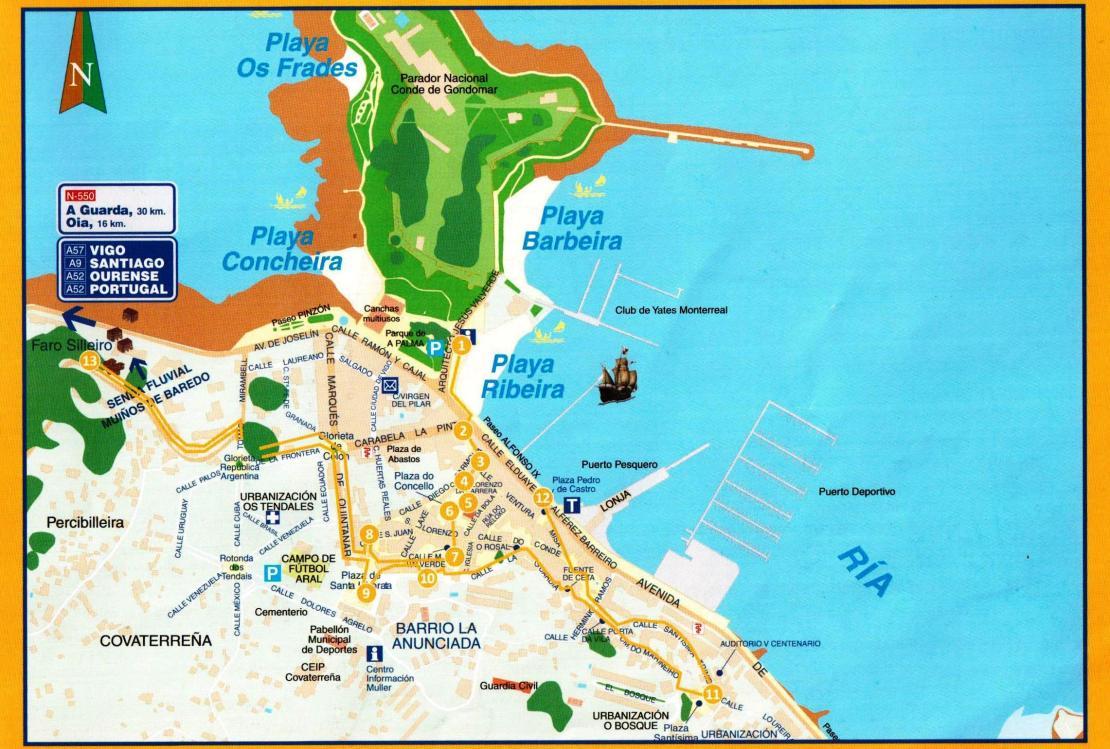 Map of Baiona (Tourist Office)