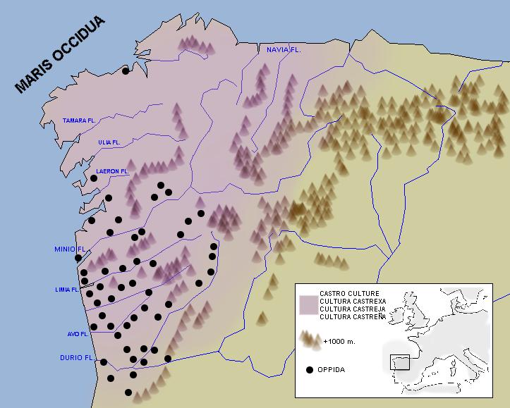 Map of Castros in Iberia (Wikipedia)