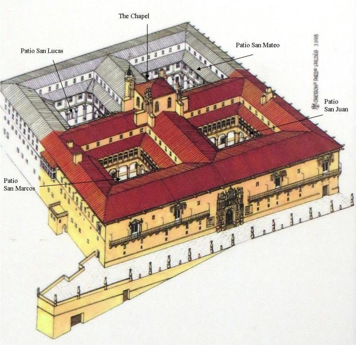 Em cor o prédio original e, em preto e branco, o acréscimo do século XVIII