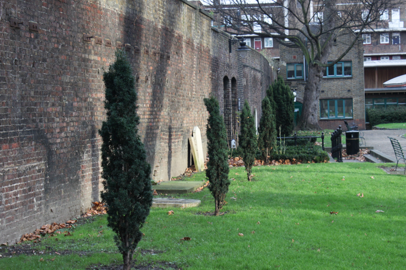 The wall of the Marshalsea Prison, on the north of the churchyard