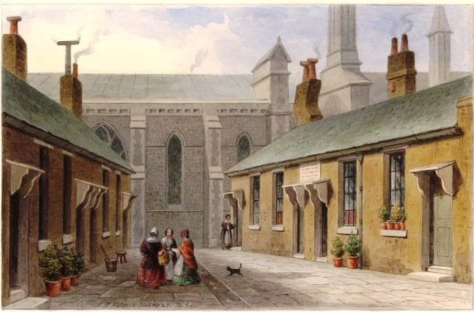 Alice Overman's Almshouses,1855, north side of Southwark Cathedral (British Museum)