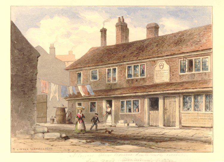 Alleyn's Almshouses, Deadman's Place, 1881 (British Museum)
