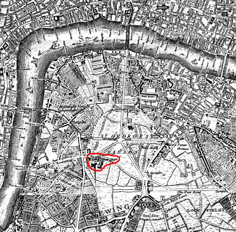 Dog and Duck marked on Rocque's Map of London 1741-5 by UserColonel Warden - annotated version of FileSt George's Fields on Rocque's Map of London 1741-5.jpg which iscrop of co