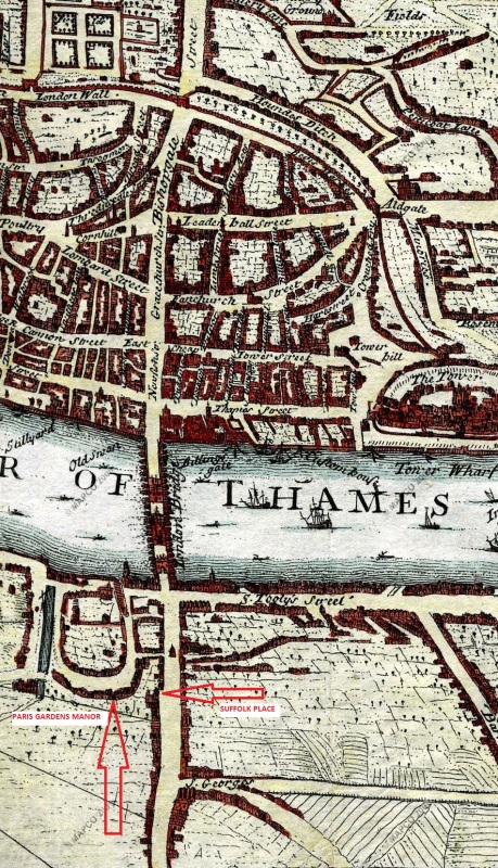 London in 1720, showing Paris Gardens Manor (mapco)