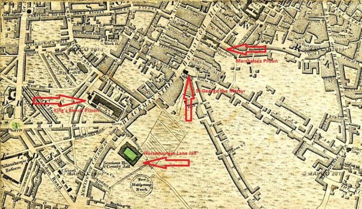 Prisons in Southwark, 1804, (Mapco)